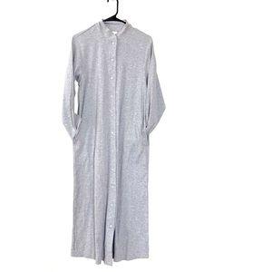 Blair Ribbed L/S Button Down Gray Maxi Dress S
